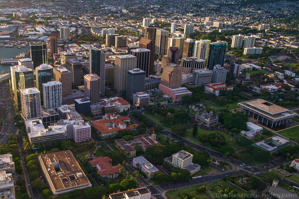 Downtown Honolulu & Hawaii State Capitol (center right)