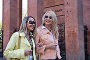 Kaliningrad, Russia, 05/05/2007..Ludmilla Zhokina [pink jacket] and Lena Sheglova walking by Kant's grave in the grounds of Koenigsburg Cathedral in Kaliningrad city centre.