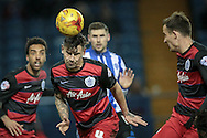 Grant Hall (QPR) heads the ball clear from a corner during the Sky Bet Championship match between Sheffield Wednesday and Queens Park Rangers at Hillsborough, Sheffield, England on 23 February 2016. Photo by Mark P Doherty.