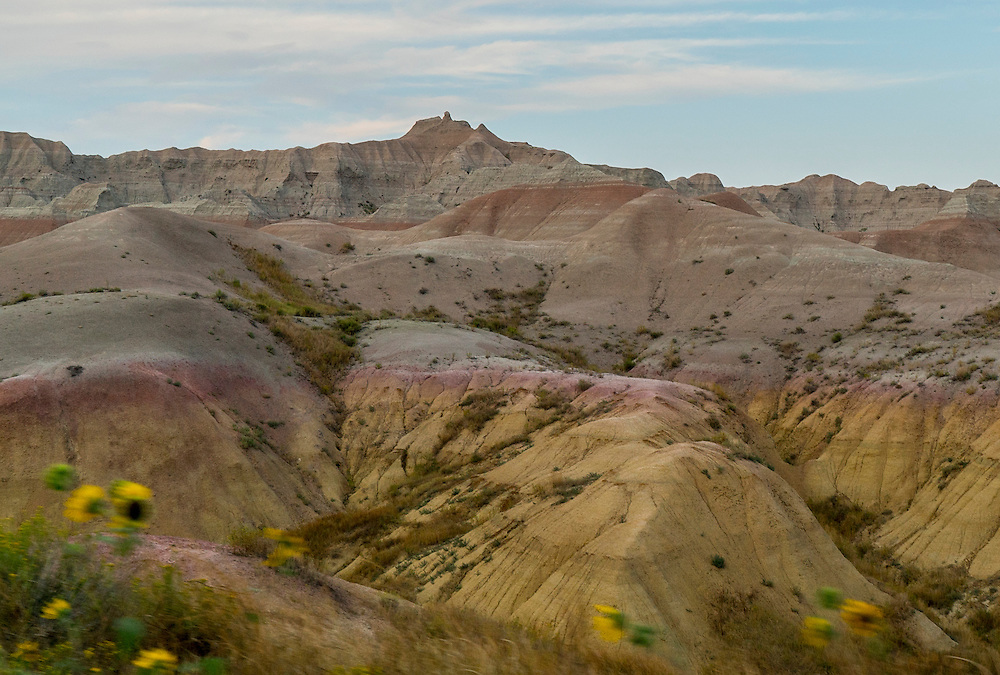 Landscape photograph of the different colors of the Badlands of South Dakota.
