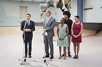 ROME, ITALY - 20 JULY 2014: (L-R) Mayor of Rome Ignazio Marino gives a speech shortly after receiving Mayor of New York Bill De Blasio and his family, during a press conference at the Capitoline Museums in Rome, Italy, on July 20th 2014.<br /> <br /> Bill de Blasio arrived in Italy with his family Sunday morning for an 8-day summer vacation that includes meetings with government officials and sightseeing in his ancestral homeland.