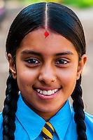 Nepalese school girl, Bhaktapur, Kathmandu Valley, Nepal.