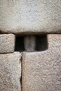 Example of precision stone work on a wall in Machu Picchu, Cusco Region, Urubamba Province, Machupicchu District in Peru, South America