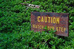 Caution Watch Your Step Sign at 'Iao Valley State Monument, Maui, Hawaii, US