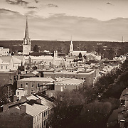 Historic Fredericksburg, Virginia with a dusting of winter snow.