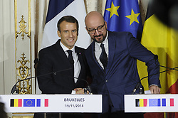 November 19, 2018 - Brussels, Belgium - Press conference by Emmanuel Macron (left) and Charles Michel (right) during the official visit of the presidential couple in Belgium. (Credit Image: © Nicolas Landemard/Le Pictorium Agency via ZUMA Press)