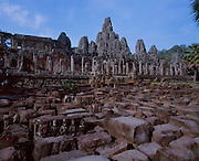 The Temple of Bayonne near Angkor was built by the ruler Jayavarman VII between 1181 and 1200 A.D.  It is still being restored with the help of French Archeologists.