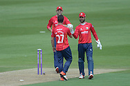 Essex all-rounder Ryan ten Doeschate and Essex wicket-keeper James Foster celebrate the wicket of Hampshire captain Sean Ervine during the Royal London One Day Cup match between Hampshire County Cricket Club and Essex County Cricket Club at the Ageas Bowl, Southampton, United Kingdom on 5 June 2016. Photo by David Vokes.