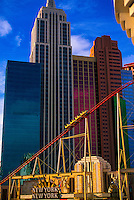 The Manhattan Express rollercoaster and the New York New York Hotel/Casino, Las Vegas, Nevada
