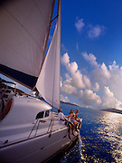 A family enjoys a relaxing boat ride through the carribean