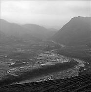 Landscape of rice paddies and river in Lao Chai valley. Sapa, Vietnam.2005