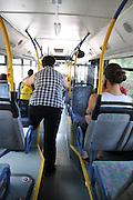 Israel, Haifa, Interior of a city bus