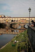 Ponte Vecchio, looking up river at the bridge, Florence, Italy, Frommer's Italy Day By Day
