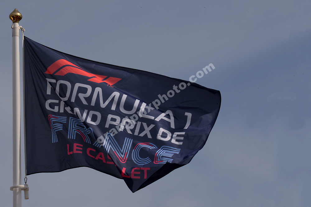 Flag anf blue skies during practice for the 2019 French Grand Prix at Paul Ricard. Photo: Grand Prix Photo