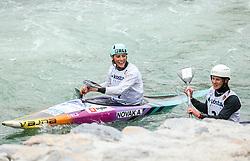 Ajda Novak of Slovenia and Ursa Kragelj of Slovenia during the Kayak Single (K1) Women race in Semifinal of European Open Canoe Slalom Cup on April 18, 2021 in Tacen, Ljubljana, Slovenia. Photo by Vid Ponikvar / Sportida