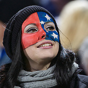 A Samoan fan during the South Africa V Samoa, Pool D match during the IRB Rugby World Cup tournament. North Harbour Stadium, Auckland, New Zealand, 30th September 2011. Photo Tim Clayton...
