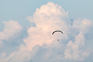 A powered paraglider files over Randall Airport in Middletown, N.Y., on Aug. , 2020.