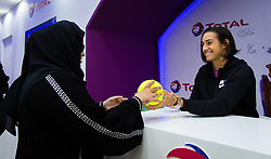 February 12, 2019 - Doha, QATAR - Caroline Garcia of France meets fans in the Total Booth at the 2019 Qatar Total Open WTA Premier tennis tournament (Credit Image: © AFP7 via ZUMA Wire)