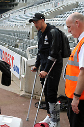 13 August 2017  : Premier League Football : Newcastle United v Tottenham Hotspur:  Florian Lejeune of Newcastle has his leg in a cast after the match: Photo: Mark Leech