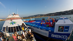 View on the court and ship Prince of Venice during exhibition match between Croatia, Italy and Slovenia at Eurobasket 2013 promotion Basketball on sea raft on August 24, 2013, Koper, Slovenia. (Photo by Matic Klansek Velej / Sportida.com)