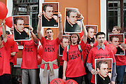 Moscow, Russia, 12/07/2004..Supporters of former Yukos CEO Mikhail Khodorkovsky and business associate Platon Lebedev outside court where they face charges of fraud, embezzlement and tax evasion.