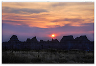One of the bizarre and beautiful landscapes of Badlands National Park at sunset, South Dakota. USA