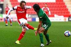 Kieran Sadlier of Rotherham United shoots at goal - Mandatory by-line: Ryan Crockett/JMP - 07/11/2020 - FOOTBALL - Aesseal New York Stadium - Rotherham, England - Rotherham United v Preston North End - Sky Bet Championship