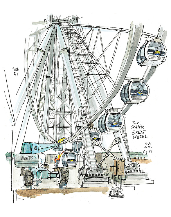 The new Seattle Great Wheel, scheduled to  stand 175 feet high on the edge of Pier 57, overlooking Elliott Bay. (Gabriel Campanario / The Seattle Times)