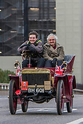A 1904 English Mechanic Going over Westminster Bridge - Bonhams London to Brighton Veteran Car Run celebrates the 122nd anniversary of the original Emancipation Run of 1896 which celebrated the passing into law the Locomotives on the Highway Act so raising the speed limit for 'light automobiles' from 4mph to 14mph and abolishing the need for a man to walk in front of all vehicles waving a red flag. The Movember Foundation as our Official Charity Partner.