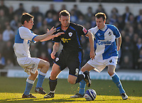 Photo: Tony Oudot/Richard Lane Photography. Bristol Rovers v Leicester City. Coca-Cola Football League One. 21/02/2009. <br /> Steve Howard of Leicester City goes past Stuart Campbell and Chris Lines of Bristol Rovers