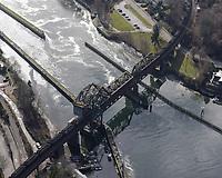 Coal train crossing the Salmon Bay Bridge between Magnolia-Interbay and Ballard in Seattle.