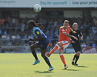 Blackpool's Harry Pritchard sees his shot deflected by Wycombe Wanderers' Marcus Bean<br /> <br /> Photographer Kevin Barnes/CameraSport<br /> <br /> The EFL Sky Bet League One - Wycombe Wanderers v Blackpool - Saturday 4th August 2018 - Adams Park - Wycombe<br /> <br /> World Copyright © 2018 CameraSport. All rights reserved. 43 Linden Ave. Countesthorpe. Leicester. England. LE8 5PG - Tel: +44 (0) 116 277 4147 - admin@camerasport.com - www.camerasport.com