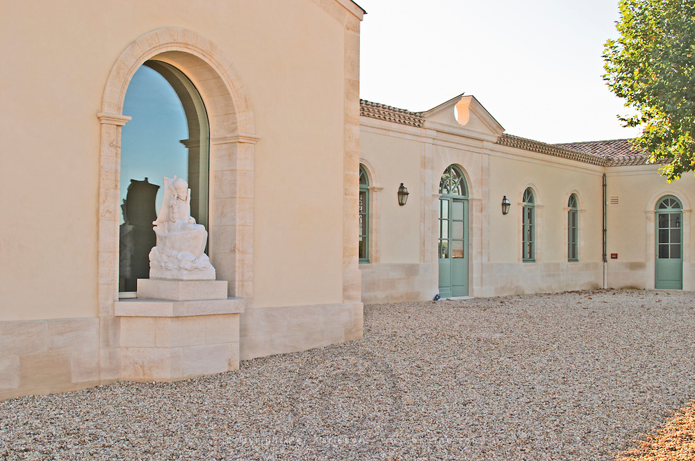 Chateau Petrus, the newly renovated wine cellar, winery, and the statue of Saint Peter, owned by the Moueix family, Pomerol, Bordeaux