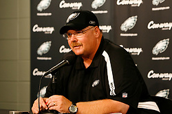 Philadelphia Eagles head coach Andy Reid speaks during a press conference announcing that they signed Michael Vick after the preseason NFL Game between the New England Patriots and the Philadelphia Eagles. The Patriots won 27-25 at Lincoln Financial Field in Philadelphia, Pennsylvania. (Photo by Brian Garfinkel)
