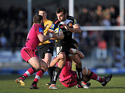 Phil Dollman of Exeter Chiefs takes on the London Welsh defence - Photo mandatory by-line: Patrick Khachfe/JMP - Mobile: 07966 386802 07/03/2015 - SPORT - RUGBY UNION - Exeter - Sandy Park - Exeter Chiefs v London Welsh - Aviva Premiership