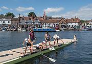 Henley-on-Thames. United Kingdom.  Coach, Tom JOST, helps his Claires Court School, Fawley, Finalist, boat. 2017 Henley Royal Regatta, Henley Reach, River Thames. <br /> <br /> <br /> 11:08:09  Sunday  02/07/2017   <br /> <br /> [Mandatory Credit. Peter SPURRIER/Intersport Images.
