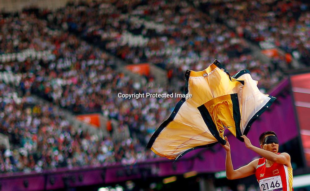 Li Duan of China prepares to compete in Men's Triple Jump F11 final at Olympic Stadium during the London 2012 Paralympic Games, London, Britain, 06 September 2012.  EPA/KERIM OKTEN