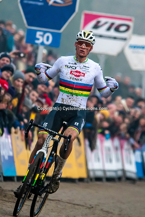 2020-01-01 Cycling: dvv verzekeringen trofee: Baal: Mathiue van der Poel celebrates the new sponsors with an outstanding win on the Baalenberg