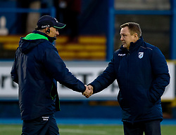 Head Coach John Mulvihill of Cardiff Blues with Head Coach Andy Friend of Connacht during the pre match warm up<br /> <br /> Photographer Simon King/Replay Images<br /> <br /> Guinness PRO14 Round 14 - Cardiff Blues v Connacht - Saturday 26th January 2019 - Cardiff Arms Park - Cardiff<br /> <br /> World Copyright © Replay Images . All rights reserved. info@replayimages.co.uk - http://replayimages.co.uk