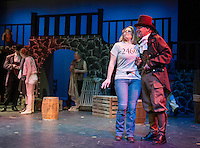 Fantine (Kelli Powers) refuses Bamatabois' (David Bownes) attempt to buy her services as a prostitute during dress rehearsal for Les Miserables with the Streetcar Company at Inter Lakes High School's auditorium Monday evening.  (Karen Bobotas/for the Laconia Daily Sun)
