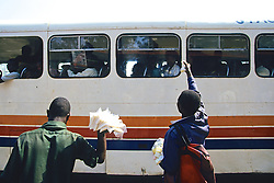 Men Selling Food To People On Bus At Blantyre Bus Station