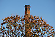 Chimney from an old industrial building in Balsall Heath on 7th January 2021 in Birmingham, United Kingdom. Birmingham has a thriving industrial present and past with many bussinesses still operating from their original premises.