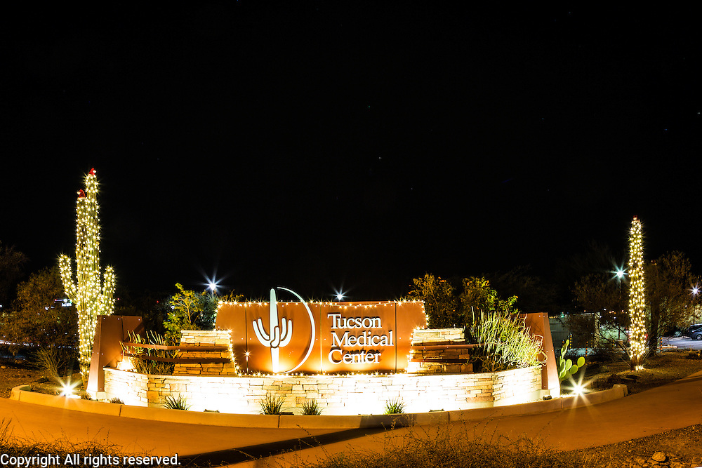 I gave you a sneak peek of this photo last week.  Tucson Medical Center (TMC) goes all out with their holiday decorations.  This photo was made using a long exposure (30 seconds) on a tripod.  I stopped the lens down (small aperture) to f/14 so that the lights would have a star burst effect.  I think that effect is nice for many night images but especially for holiday decorations.