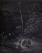 """Far away Shone a single ray."" Illustration from 'Hop O' My Thumb' by Paul Gustave Dore. [The Children are left alone in the deep dark forest] Hop-o'-My-Thumb (Hop-on-My-Thumb), or Hop o' My Thumb, also known as Little Thumbling, Little Thumb, or Little Poucet is one of the eight fairytales published by Charles Perrault in Histoires ou Contes du temps passé (1697), Where the small boy defeats the ogre. Illustration by Gustave Dore from the book Fairy realm. A collection of the favourite old tales. Illustrated by the pencil of Gustave Dore by Tom Hood, (1835-1874); Gustave Doré, (1832-1883) Published in London by Ward, Lock and Tyler in 1866"
