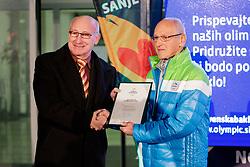 Bogdan Gabrovec and Miro Cerar at Lighting and Handover Ceremonies of the OKS Olympic Flame for PyeongChang 2018, on January 9, 2018 in BTC City, Ljubljana, Slovenia. Photo by Matic Klansek Velej / Sportida