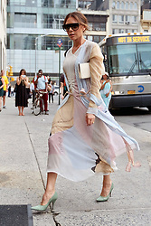 June 18, 2018 - New York, New York, United States - Designer Victoria Beckham wears a light and airy summer ensemble as she arrives back at her midtown hotel on June 18 2018 in New York City  (Credit Image: © Curtis Means/Ace Pictures via ZUMA Press)