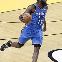 17 June 2012: Oklahoma City Thunder guard James Harden (13) brings the ball upcourt during the Miami Heat 91-85 victory over the Oklahoma City Thunder, in Game 3 of the 2012 NBA Finals, at the AmericanAirlinesArena, Miami, Florida, USA.