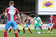 Plymouth Argyll forward Freddie Ladapo (19) on the ball during the EFL Sky Bet League 1 match between Scunthorpe United and Plymouth Argyle at Glanford Park, Scunthorpe, England on 27 October 2018. Pic Mick Atkins