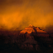 Snow storm at sunset over Isis Temple in Grand Canyon National Park, Arizona