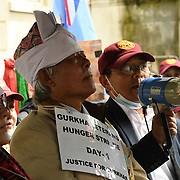 Downing Street 7 August 2021. Three Gurkha two men one women begin a hunger strike till death to appeal to the British government to match the pension of the British armed forces until the British government adament. Gyanraj Rai, Dhan Bahadur Gurung, Pushpa Ghale Rana are preparing for a hunger strike until they die, until the British government equalizes the pension of the British armed forces.